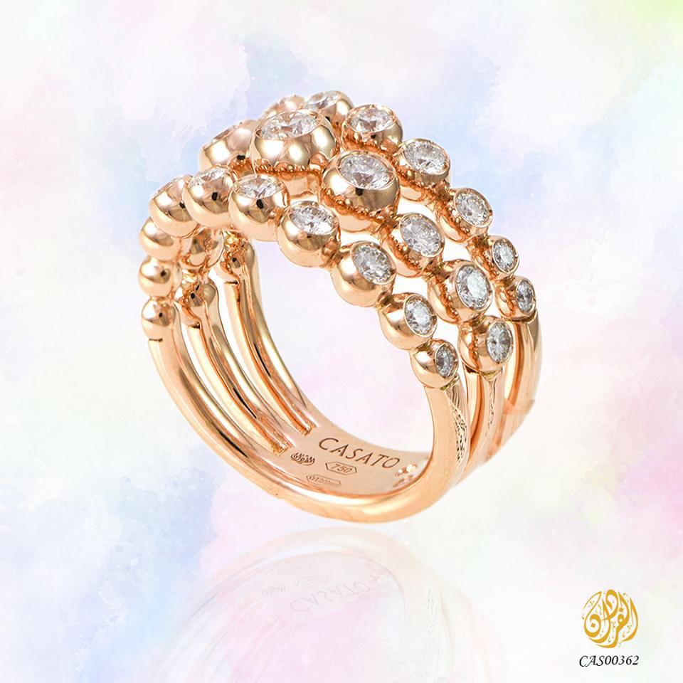 خاتم انيق من الذهب الوردي والالماس