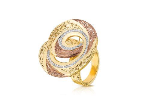 خاتم من الذهب الاصفر والاحجار الكريمة