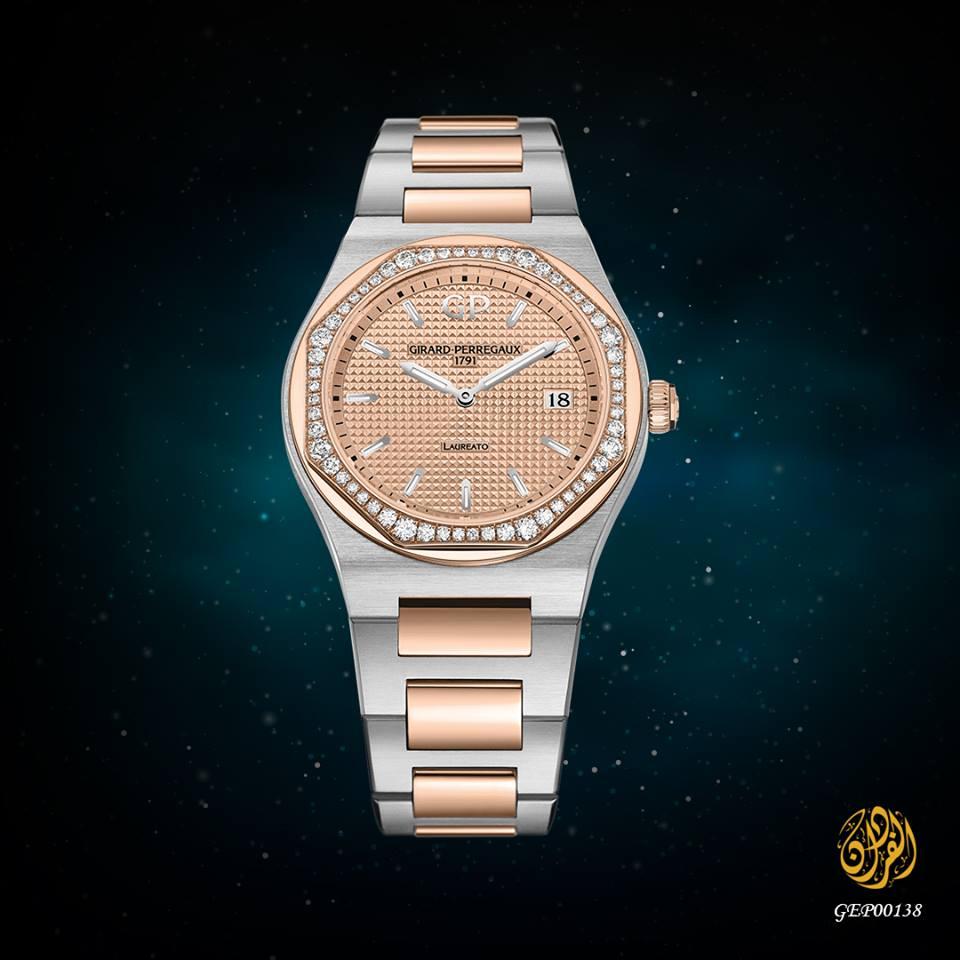 ساعة نسائية كوارتز من جيرار بيريغو من الإستيل والذهب الوردي و الألماس على الإطارمع إسوارة معدنية